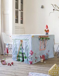 Easy diy: tablecloth/dining table playhouse fabric tent   Note: pad the bottom side of the table if there are any sharp parts, for kiddos who stand up