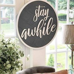 Stay awhile, raised wood sign with herringbone backer and sawtooth hanger. Wooden Door Signs, Diy Wood Signs, Wooden Doors, 3d Signs, Vinyl Signs, Wall Signs, Diy Wood Projects, Wood Crafts, Stay Awhile Sign