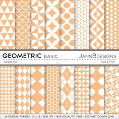 SALE 80% off Apricot GEOMETRIC BASIC Digital by JAnnBdesigns