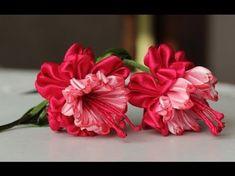 (13) Цветок эльфов - ФУКСИЯ канзаши из лент, мастер класс / DIY Ribbon Flower Kanzashi - YouTube