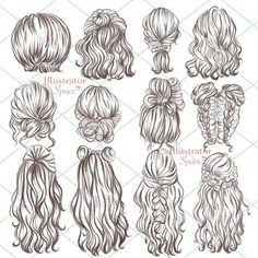 Watercolor Hair, Drawing Sketches, Art Drawings, Drawings Of Hair, Illustration Sketches, Drawing Tips, Drawing Faces, Fashion Illustration Hair, Hipster Drawings
