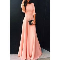 Womens's Stylish Round Neck 3/4 Sleeve Pure Color Dress (PINK,L) in Maxi Dresses | DressLily.com