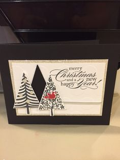 Stampin' Up!, Festival of Trees, Christmas card, black, white