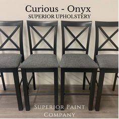 Dining chairs updated with new Superior Paint Co. high quality upholstery. Paint Companies, Bar Stools, Upholstery, Dining Chairs, Pattern, Furniture, Collection, Home Decor, Bar Stool Sports