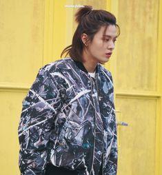 Nct Yuta, Raincoat, Bomber Jacket, Men Casual, Kpop, Shirt Dress, Photo And Video, Mens Tops, Style