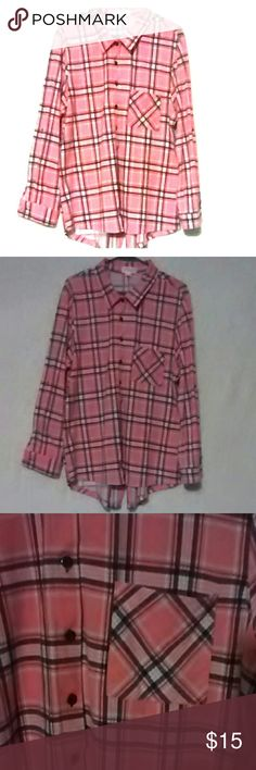 Plaid button up dress shirt Pink/Navy blue/white front pocket. Can wear sleeves down or rolled up!  91%polyester 3%spandex 1x Extremely soft!!! Good condition starlet Tops Button Down Shirts