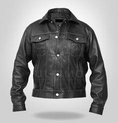 Windy Denim Style Black Leather Jacket