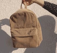 Corduroy Backpack 🌙 Kozy 🌙 Use 'LittleAlien' to get off! Cream Aesthetic, Brown Aesthetic, Mochila Grunge, Corduroy, Leather Backpack, Fashion Backpack, Purses And Bags, Indie, Jewelry Accessories