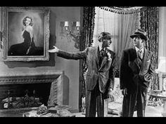"Laura - Clifton Webb, Dana Andrews & portrait of ""Laura"" (Gene Tierney) Gene Tierney, Classic Film Noir, Classic Movies, Old Movies, Great Movies, Laura Movie, Laura 1944, Clifton Webb, Detective"