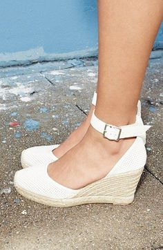 Marc by Marc Jacobs Summer Breeze D'Orsay Wedge Espadrilles Pretty Shoes, Cute Shoes, Me Too Shoes, Beautiful Shoes, Leather Espadrilles, Leather Sandals, Lambskin Leather, Summer Shoes, Summer Wedge Sandals