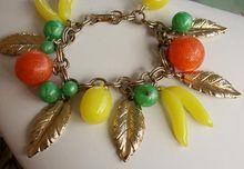 40-70's Loaded Lucite Fruit & Goldtone Leaves Charm Bracelet-Big & Weighty!