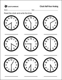 A printable clock worksheet. Read the half hour on the analog clock and write the time. Math Addition Worksheets, Kindergarten Math Worksheets, School Worksheets, Clock Worksheets, Printable Math Worksheets, Math Clock, Learning Clock, Clock Printable, Clock For Kids