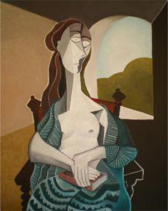 Mujer con libro asomada a la ventana. Óleo sobre lienzo. Tamaño: 73x92 cms. Año 2014.