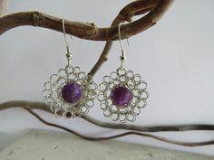 La Petite Fleur Earrings with Purple Mica Gemstones Stone Earrings, Flower Earrings, Crochet Earrings, Designer Earrings, Hand Crochet, Cord, Pendant Necklace, Pure Products, Gemstones