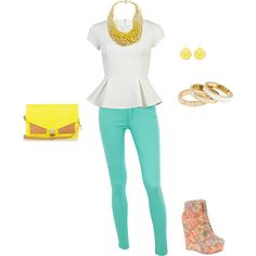 yellow accents ;), created by leah-gr on Polyvore