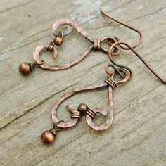 Hammered Copper Wire Wrapped Bead Dangles by BearRunOriginals, $24.00