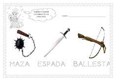 ESOS LOCOS BAJITOS DE INFANTIL: MAS FICHAS DEL PROYECTO LOS CASTILLOS Medieval Knight, Middle Ages, Hair Accessories, Knights, Bobby Pins, Classroom, Children, School, Beauty