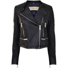 BURBERRY BRIT Leather Biker Jacket (7 490 SEK) ❤ liked on Polyvore featuring outerwear, jackets, leather jacket, tops, coats, black, genuine leather biker jacket, motorcycle jacket, padded jacket and biker jacket