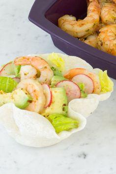 Mexican Taco Shrimp Salad #goodfoodrealfast #salad #Mexican Shrimp Tacos, Shrimp Salad, Epicure Recipes, Cooking Recipes, Mexican Tacos, Yummy Eats, Fresh Rolls, Lunch Ideas, Bbq