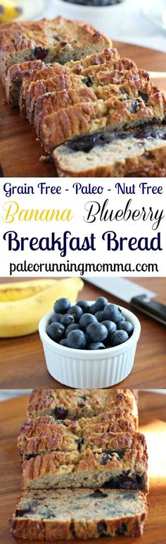 Gluten free and Paleo Banana Blueberry Breakfast Bread that's perfectly soft and moist with lots of natural sweetness! #paleo #grainfree #nutfree #glutenfree #lowFODMAP