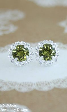 Green crystal earrings | green wedding jewelry | olive green wedding | khaki…