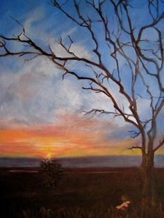 """Dawn, Oil on Canvas, by Sara Joseph 16x20 $350    """"Faint blush of salmon stains the sky  Inky night bids a hasty goodbye,  Color spills, an uncontrollable flow  The dawn of the day, a forceful glow...""""     Read the rest on www.christian-artist-resource.com"""