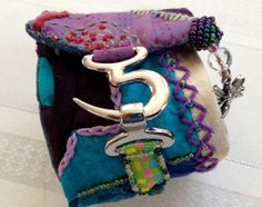 Cuff Bracelet JOY - Crazy quilted by FriskyFurnishings, $59.00 - created by Laura Bundesen