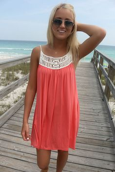 328973e7e92 Saltwater And Clear Skies Cream Woven Straps Caged Coral Dress Orange Beach  Dresses