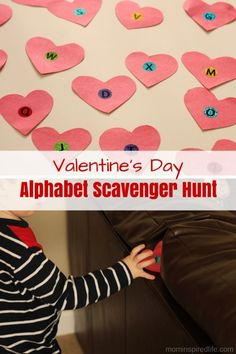 Valentine's Day Alphabet Scavenger Hunt. This literacy activity is a great way to work on letter identification, letter sounds, and observation skills in young kids!