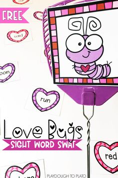 Looking for a fun and engaging way to practice sight words? This fun love bugs game is perfect for February literacy centers with kindergarten and first grade kids this winter. Kindergarten Sight Word Games, Preschool Sight Words, Sight Word Activities, Kindergarten Literacy, The Words, Centers First Grade, First Grade Freebies, Word Work Stations, Valentine Words
