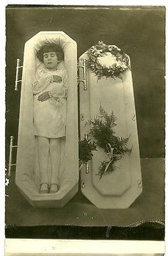 "Vintage BW Post Mortem Photograph Young Child / Girl in Coffin 3 3/8"" x 5 3/8"""
