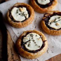 Red Wine Caramelised Onions & Goats Cheese Tartlets Recipe with onion, olive oil, red wine, brown sugar, tart, thyme leaves, black pepper, salt, puff pastry, goat cheese, pastry, milk
