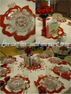 Valentine Table Scapes for Relief Society or Ward/Neighborhood Valentine's Day party