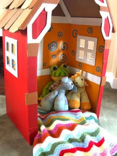 This is a little house made of cardboard boxes. I made it 4 years ago as a Christmas gift for my little one and I'm always surprised at how well it's holding up and how long it's been kicking around. I remember being quite proud of the little Victorian house design (and I still am!)...Read More »