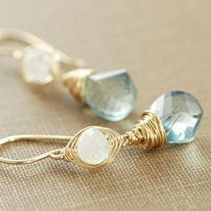 Earrings Teal Quartz Moonstone 14k Gold Fill Handmade by aubepine, $56.00