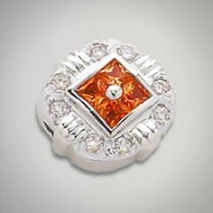 2.50 mm Princess Cut 4 Stone Synthetic Sapphire Orange accented with CZ's set in Sterling Silver Slide. All Sterling Silver is Rhodium plated. Metal:Sterling Silver Designer:Goldman-Kolber $ 150.00 Item #: FPCE5M Call 870-863-8818 for personal consultation.