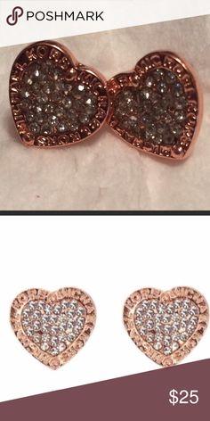 Rose Gold Michael Kors Crystal Heart Earrings Rose Gold Michael Kors Crystal Heart Earrings Michael Kors Jewelry Earrings