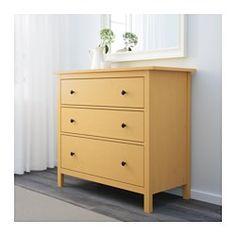 IKEA - HEMNES, Kommode mit 3 Schubladen, gelb, , Aus Massivholz, einem strapazierfähigen, lebendigen Naturmaterial.Leichtgängige Schubladen mit Ausziehsperre.Für perfekte Nutzung des Innenraums eignet sich SKUBB Aufbewahrung, 6er-Set.