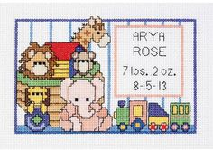 Janlynn Noah's Ark Birth Sampler - Cross Stitch Kit. This package contains 14-count white Aida fabric, six strand cotton floss, one needle, one graph and instru