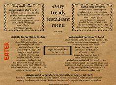 ha! : Here's What Every Trendy Restaurant Menu Looks Like