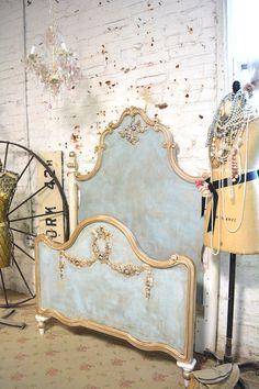 French Bed Painted Cottage Shabby Chic Marie by paintedcottages