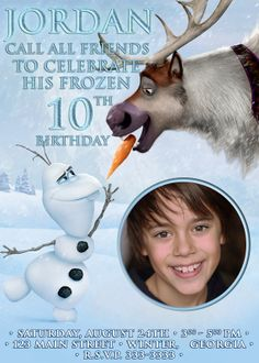 Disney Frozen Birthday party Invitation card digital file girl boy Sven Olaf DIY