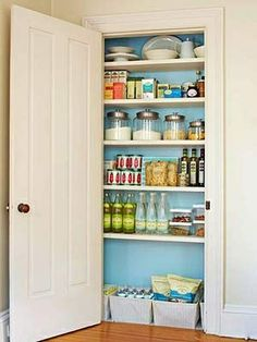 Love the idea of painting the inside of a pantry/closet a fun color!