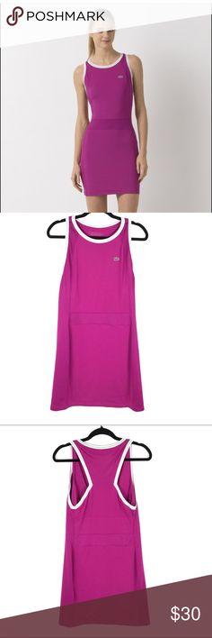 "Lacoste Sport Racerback Tennis Dress Purple XL Lacoste Sport Purple Tremeire Agent Racerback Dress Women's Size (EU 42) US XL  Stretch Fit - Jersey & Mesh - built in shelf bra  Pit to Pit: 17""  Waist: 15""  Length: 34""  Condition: Excellent pre-owned condition. Lacoste Dresses Mini"