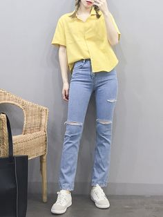Korean Clothing Styles The Beige Blouse « voguee. Korean Fashion Trends, Korean Street Fashion, Korea Fashion, Asian Fashion, Cute Casual Outfits, Simple Outfits, Pretty Outfits, Girl Outfits, Fashion Outfits