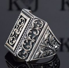 925 Sterling Silver mens ring completely handcrafted unique Anatolian jewelry  #KaraJewels #Handcrafted