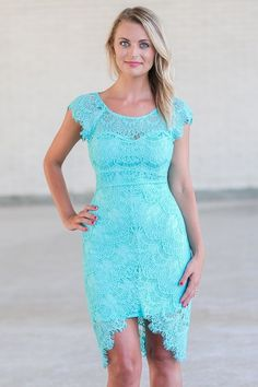Lily Boutique Torey Eyelash Lace High Low Sheath Dress in Turquoise, $46 Turquoise Teal Green Lace Sheath Dress, High Low Sheath Dress, Cute Summer Dress www.lilyboutique.com