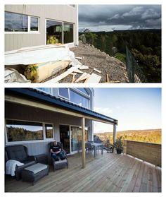 Pen #uteplass med #terrasse bygd over garasjen på huset.