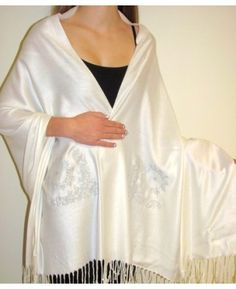 Product No: 6422 This Ivory White Designer Crystal Shawl Wrap Beauty is a #Pashmina Silk original beauty with Swarovsky Crystals at #YoursElegantly. Buy this designer bridal #shawl #wrap on #sale and look gorgeous. This shawl will make heads turn for sure as it is an artistic treasure. A must have ladies shawl for your wardrobe.  #PashminaShawls #WeddingShawls #BridesmaidsShawls #EveningShawl