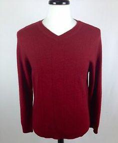 Apt 9 Sweater Cashmere Brick Red V Neck Luxury Long Sleeve Knit Pullover Mens M | eBay